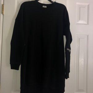 Tobi Dresses - Tobi Black Zipper Oversized Sweatshirt Dress